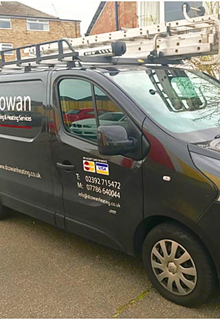 general gas heating services by d cowan in hampshire - illustration of a company van